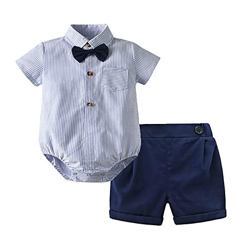 inlzdz Baby Jungen Sommer Bekleidung Set Gentleman Smoking Anzug Festlich Taufkleidung Hemdbody Strampler + Shorts +Fliege Freizeit Outfit Hellblau 68-74