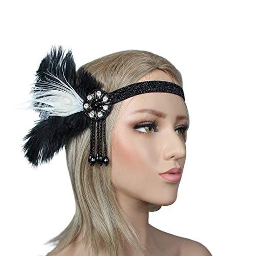 Gjyia Nieuwe Zwarte Veer Haarband 1920s Gatsby Haarband Hoofdband Party Hoofddeksels