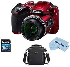 $256 Get Nikon Coolpix B500 Digital Point & Shoot Camera, RED - Bundle with Camera Bag, 16Gb SDHC Card, Microfiber Cloth