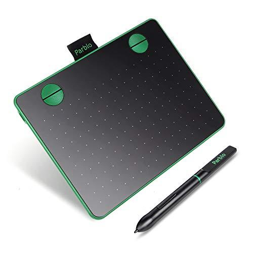 Parblo A640 Grafiktablett 6 x 4 Zoll OSU! Zeichentablett mit 8192 Druckstufen und Batteriefreier Stift zum Malen und Bearbeiten von Fotos, kompatibel mit Wins & Mac (Grün)