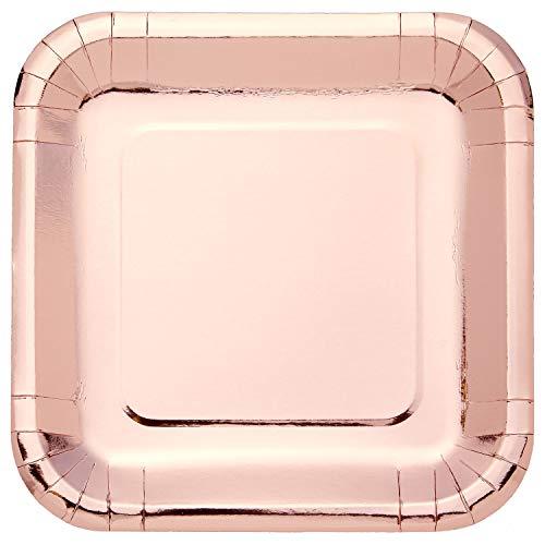 amscan Square Metallic Rose Gold Paper Plate-8 Pcs