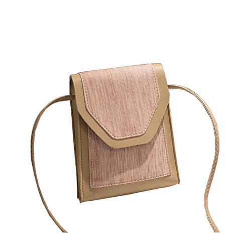 L-sister Damen Tasche Minirock Casual Hit Farbe kleine quadratische Tasche Schulter Slung nomadic Phone Bag Kleine Tasche Einzigartiger Stil (Farbe: Braun, Größe: 20 x 16 x 4 cm)