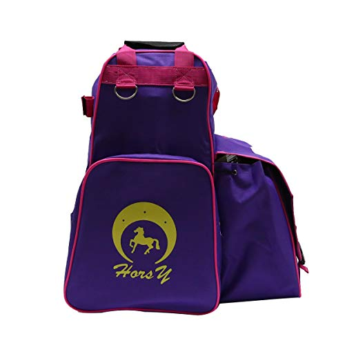 UNISTRENGH Professional Horse Riding Boots Carry Bag Waterproof Equestrian Horse Riding Bag with Helmet Compartment (Purple)