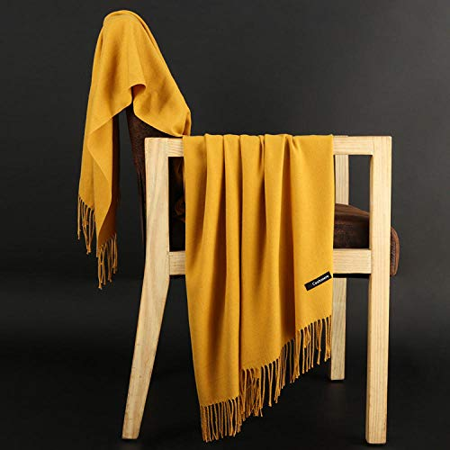B/H Scarf Women,Comfortable soft and elegant cashmere scarf shawl-turmeric,Gift for Women