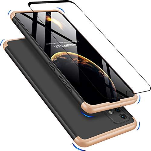 JOYTAG Kompatibel Samsung A51 Hülle,Handyhülle+Hartglas Glasfilm Schutzfolie 360 Grad Ultra dünn Alles inklusive Schutz 3 in 1 PC Telefon Cover case-Golden Noir