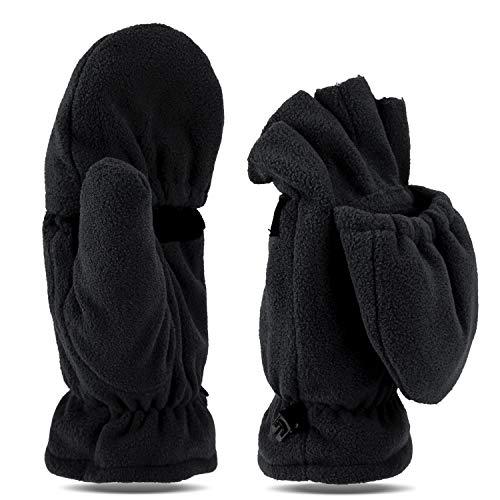 Tarjane Fleece Winterhandschuhe | Fäustlinge | Damen und Herren Fausthandschuhe | Fingerhandschuhe (S/M, Schwarz)