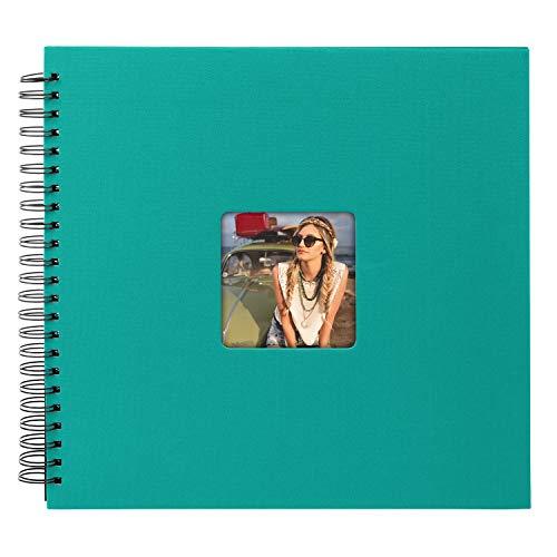 goldbuch 25199 Spiralalbum Living, Erinnerungsalbum mit Bildausschnitt-Cover, Fotoalbum mit 50 schwarzen Seiten, Foto Album zum Einkleben, Fotobuch in Leinenoptik, 32 x 36 cm, Türkis