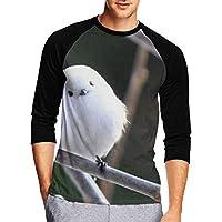 Tシャツ 七分袖 メンズ 中袖 吸水速乾 シンプル 無地 おしゃれ 潔白な雪鳥 傾げた頭 創意デザイン 男性Tシャツ スタイリッシュ おもしろ カジュアル スポーツ