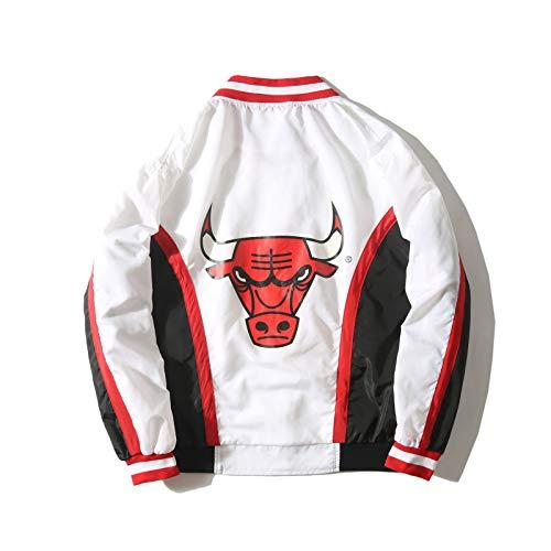 UIQB Chicago Bulls Retro Basketball Jacke Aussehen Anzug Lose Frühling und Herbst Langarm Windjacke Sport Jersey Jacke White-M