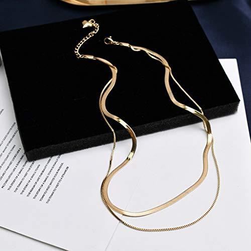 KONZFP collarTendencia Elegantes gargantillas de Cadena chapadas en Oro Delicado Colgante de Estrella Collares de Luna de Doble Capa para Mujeres Regalos de joyería de graduación