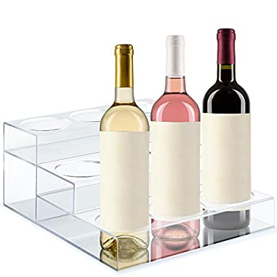 Acrylic Bottle Holder | Wine Display Riser | 9 Bottles, 3 Tier Rack | Bar Counter-Top Display Stand | Wine Rack Holder For Kitchen, Pantry, Fridge | Storage Organizer For Wine, Soda, Syrups and Beer