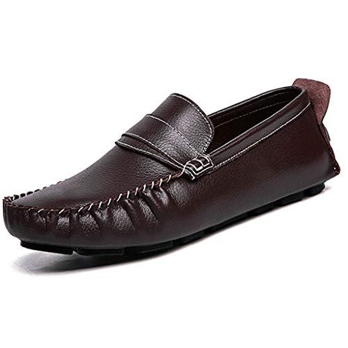 VAN+ Men Casual Loafers Lederschuh Außenfahrkomfort Schuhe Geschäft Smart Office Arbeitsschuhe Leichte Slip-on Gehen Intelligente,Braun,41