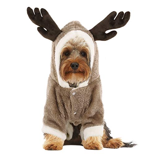 Queenmore Dog Costume for Halloween Christmas, Cold Weather Warm Fleece Hoodie Coat, One-Piece Jumpsuit Clothes for Small, Medium Dogs, Pups, Cats