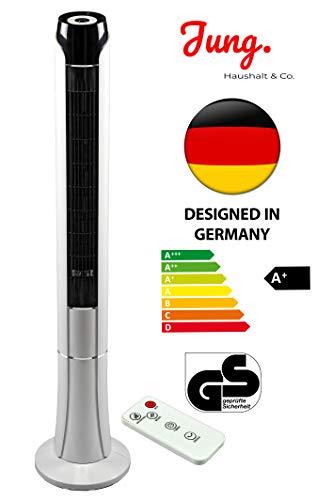 JUNG TV07 Ventilator mit Fernbedienung + Timer 120cm groß, STROMSPAREND EEK A+, Turmventilator mit Schlafmodus, Turmlüfter 45W Leistung, 75° Oszillation bis 50qm
