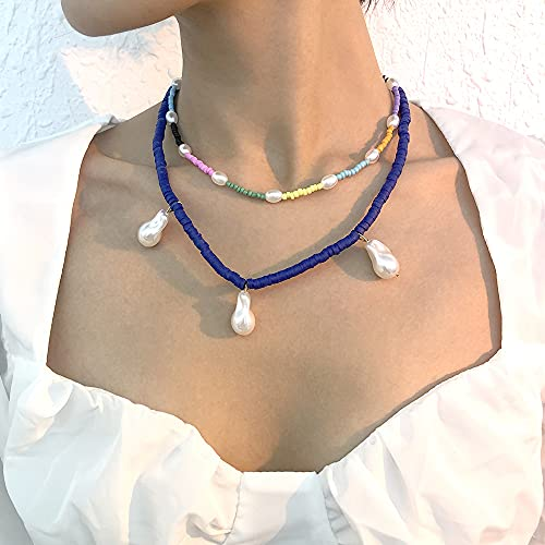 JOMYO Collares Mujer Verano, Collar Bolitas De Colores, Collar Cuadrado Con Perlas, Collar Rígido De Color De Aleación En Dos Capas, Cadena Geométrica Hecha De Cerámica De Cerámica Suave En Estilo Vin