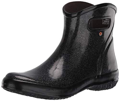 BOGS womens Rainboot Ankle Height Waterproof,Glitter Black,9
