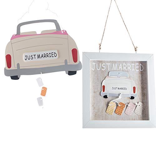 Hochzeitsdeko zum Hängen   knuellermarkt24.de   Auto Bilderrahmen Just Married 2er Set Holz Hochzeit