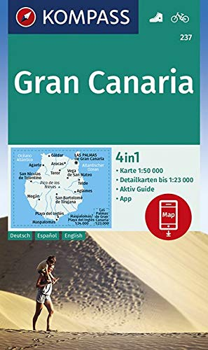 KOMPASS Wanderkarte Gran Canaria: 4in1 Wanderkarte 1:50000 mit Aktiv Guide und Detailkarten inklusive Karte zur offline Verwendung in der KOMPASS-App. Fahrradfahren. (KOMPASS-Wanderkarten, Band 237)