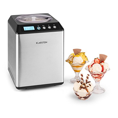 Klarstein Vanilla Sky Family - Eismaschine, Eisbereiter, Speiseeismaschine, Kühlhaltefunktion, LED-Display, Timer, Edelstahl, einfache Reinigung, 250 Watt, 2,5 Liter Fassungsvermögen, Silber