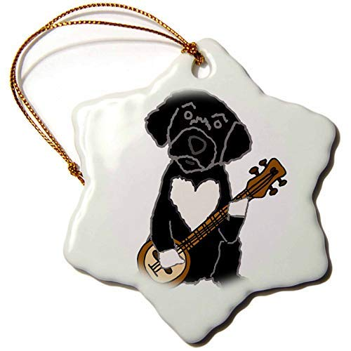 Kysd43Mill All Smiles Art - Pets - Funny Cute Black Portuguese Water Dog Playing Banjo Cartoon Christmas Ornaments Porcelain,Christmas Tree Decoration Ornaments