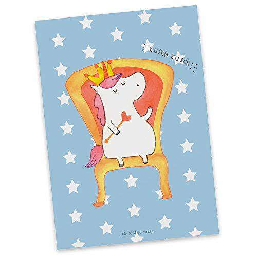 Mr. & Mrs. Panda uitnodiging, cadeaubon, Ansichtkaart Eenhoornkoning - Kleur Blauwe Pastel