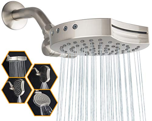 """Suptaps 6"""" Inch High Pressure 4-Settings Rain Shower Head, Fixed Waterfall Showerhead - Wall Mount Adjustable 360 Degrees Direction with Easy Installation (Brushed Nickel)"""