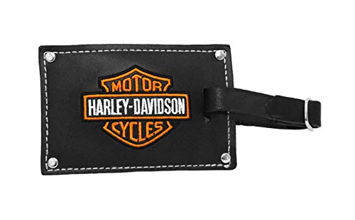 Harley-Davidson Belted Black Leather Luggage Tag Set (No Size)