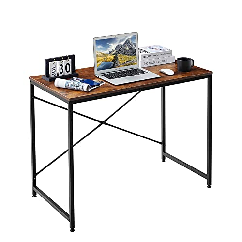 LeChamp Computer Desk Home Office Desk Modern Industrial Small Table Study Table Stable Office Desk Rustic Brown Writing Table Simple Assembly 100x50x75cm