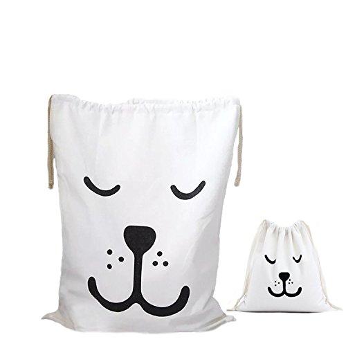 Amoyie – Set sacchi da biancheria, 2 pezzi, cotone borse organizer portatutto con coulisse, set da viaggio per bambini, sacchettini organizzazione interni casa, borsa per toilette donna