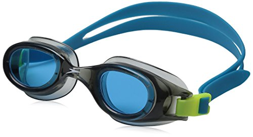 Speedo Jr. Hydrospex Classic Swim Goggles, No Leak, Anti-Fog, and Easy to Adjust with UV Protection, Grey/Blue