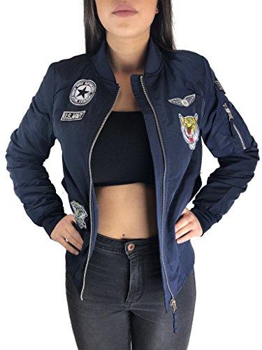 Worldclassca Damen Bomberjacke Jacke MIT Army Patches ÜBERGANGSJACKE Piloten Jacke Fliegerjacke Blogger NEU MIT REIßVERSCHLUSS Clubwear 4...