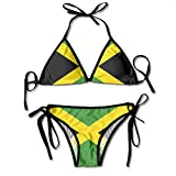 Jamaican Flag Patterned Printed Female Ladies Women Girl Summer Beach Dress Bikini Two-Piece Swimsuit Adult Costume Bathing Suit Apparel Black