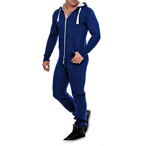 Mono de forro polar para hombre, traje de chándal para hombre, mono, bonito y elegante, monos con capucha, ropa de dormir azul oscuro1 L