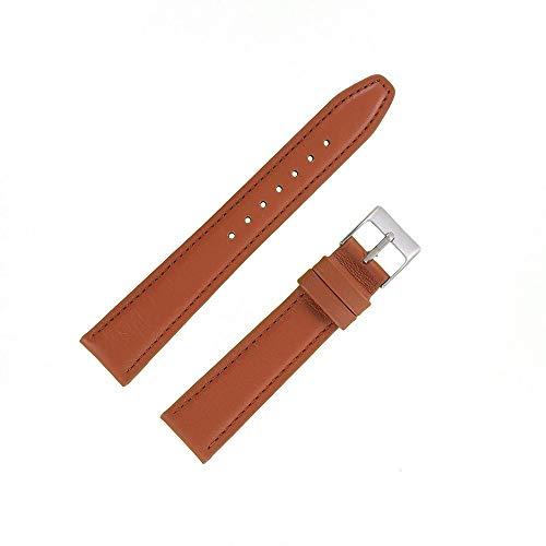 OnWatch - Correa de reloj de 18 mm, color marrón claro de piel auténtica, fabricación artesanal