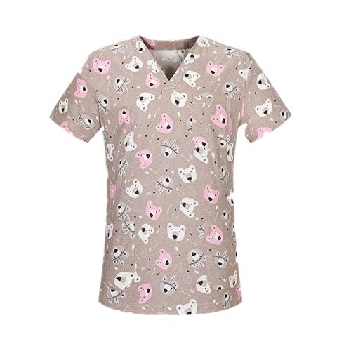 N\P Camiseta de manga corta con cuello en V para mujer