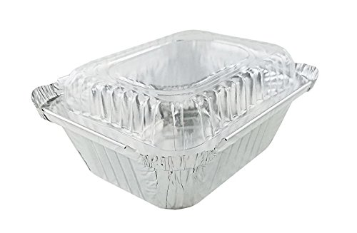 (50 Sets) Handi-Foil 1 lb. Oblong Pan with Clear Dome Lid -Disposable Aluminum Containers