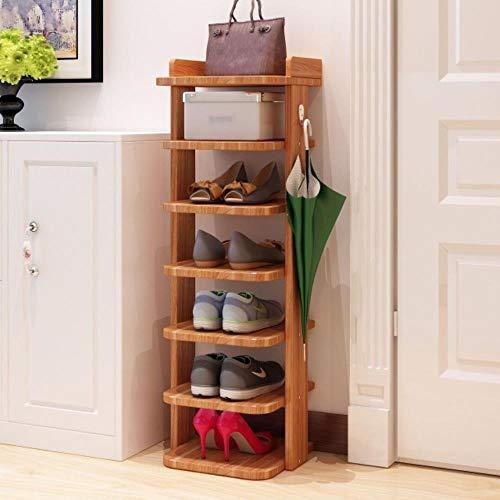 Zapatero vertical de madera detrás de la puerta zapatos estante de almacenamiento ahorro de espacio organizador de zapatos rack hogar pasillo re zapatero gabinete - 2