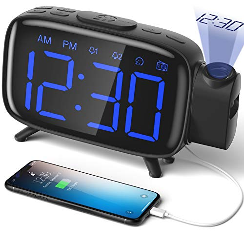 top 10 projection clocks ELEHOT Projection Alarm Clock Radio Controlled Alarm Clock Digital Clock, Powered Alarm Clock, …