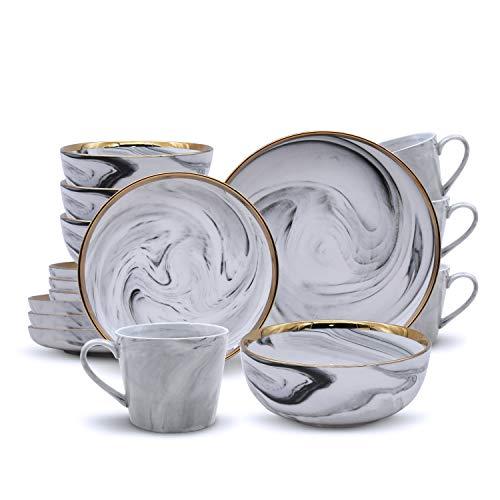 ABHOME Juego de vajilla chapada en oro con diseño de mármol para 4 vajillas y vajillas de porcelana de 16 piezas: platos de cena, platos de postre, cuencos de cerámica, tazas de cocina para el hogar