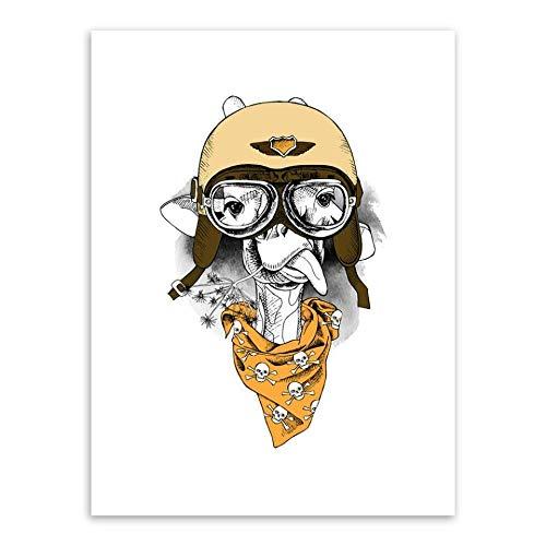 SDFSD Kreativer Cartoon Netter Pilot Pilot Hut Mode Tier Schönes Haustier Malerei Leinwand Wandkunst Poster Wohnkultur Kinderzimmer Kinderzimmer 30 * 40cm