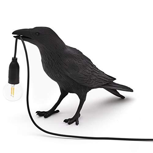 WHCQ Vogellampe Tischlampe Spiel Raven/Applikationen, Design Raben-Vogel Nordic LED Tischleuchte Mordern Art Deco Tischlampen Nacht Dekor Für Wohnzimmer-Dekoration Raven,Table lamp Black