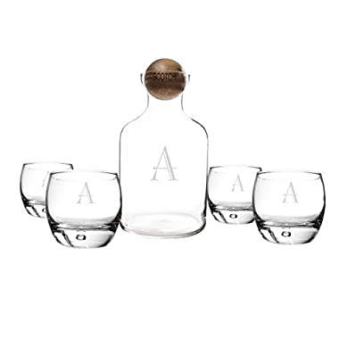 Cathy's Concepts Personalized Glass Liquor Decanter with Wood Stopper & Glasses Set, Scotch, Letter A
