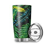 Buweirezhi Vaso térmico de hojas de palma tropicales de 20 onzas con labio, aislamiento al vacío, doble pared, de acero inoxidable, para bebidas frías y calientes, blanco, 600 ml