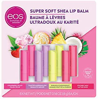 بالم لب EOS Super Soft Shea ، 8 بسته ، 2 عدد هلو توت فرنگی ، 2 عدد مارشمالو برشته ، 2 عدد میوه آناناس ، 2 شیر نارگیل