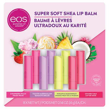 EOS Super Soft Shea Lip Balm, 8 pack, 2 Strawberry Peach, 2 Toasted Marshmallow, 2 Pineapple Passionfruit, 2 Coconut Milk