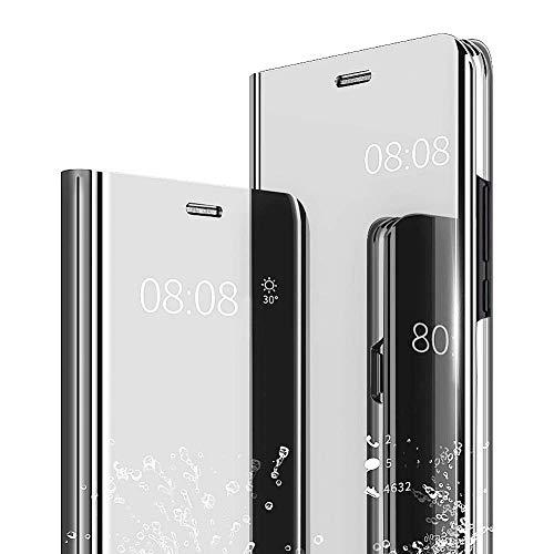 AIsoar Carcasa Compatible/Reemplazo para Huawei P30 Lite Funda Tapa Libro Flip Clear 360° Protectora Caso Modelo Fecha Espejo Mirro Translúcido Slim PC Duro Anti-Scratch Teléfono Cubierta (Plata)