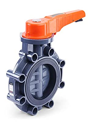 HYDROSEAL Sertao PVC Butterfly Valve, ASTM F1970, Precise unibody Mold, with Built in V-Notch EPDM Liner, Stainless Steel Shaft, 11-Stop Position Control, Rated at 200 PSI @73F, Gray (6'') from HYDROSEAL