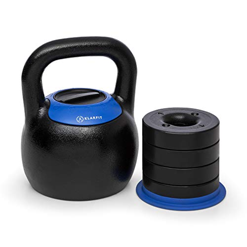 Klarfit Adjustabell Verstellbare Kettlebell, Kugelhantel, verstellbares Gewicht: 16/18 / 20/22 / 24 kg, platzsparend, Gusseisen, schwarz-blau