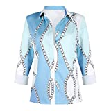 Blusa con Estampado Suelto de Solapa de Moda Informal para Mujer, pulóver con Personalidad, Camisa de Manga Larga con Contraste de Color de Todo fósforo L
