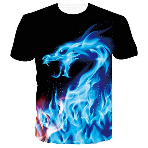 RAISEVERN 3D Grafik gedruckt Anime Kurzarm T-Shirts Dragon Fire T-Shirt für Männer, L